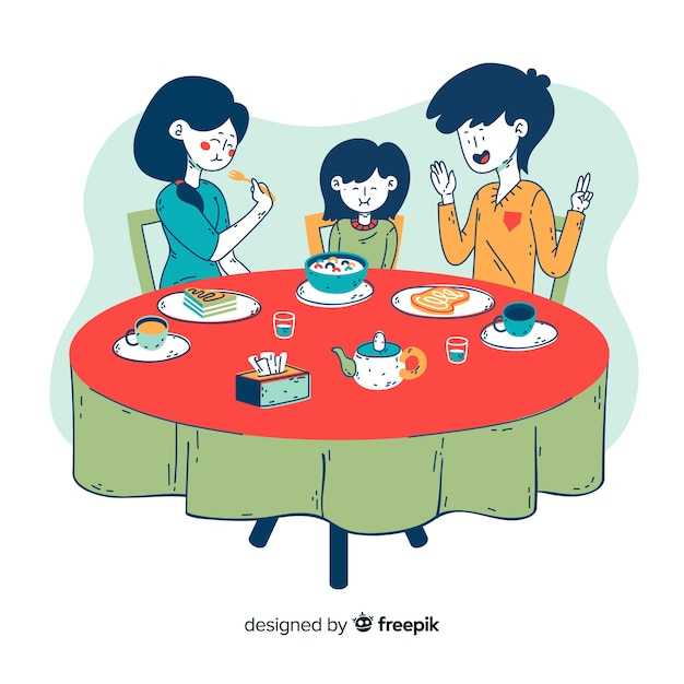 Family sitting around table Free Vector