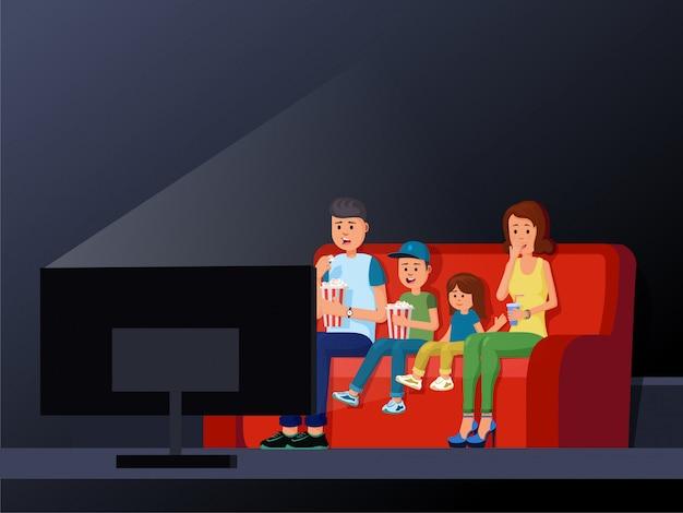 Family sitting on comfortable sofa and enjoying interesting film vector illustration Premium Vector