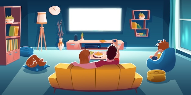 Free Vector Family Sitting On Sofa And Watch Tv In Living Room At Evening Cartoon Illustration Of Lounge Room Interior With Rear View Of Couple On Couch Boy On Chair And