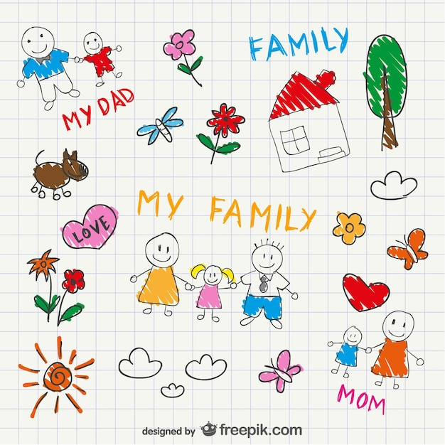 Family sketched with theis house and dog Free Vector