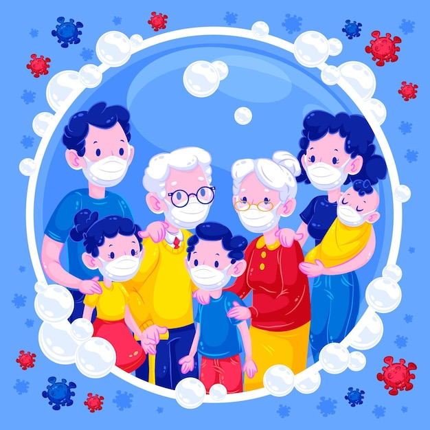 Family in a soap bubble protected against virus Free Vector