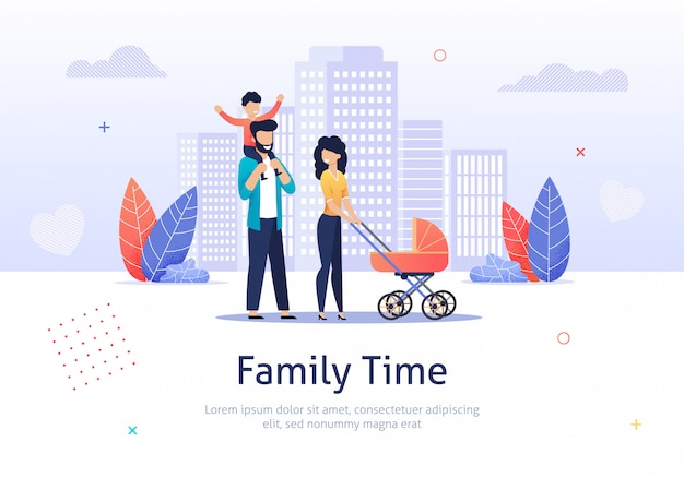 Family spend time together walking with stroller. Premium Vector