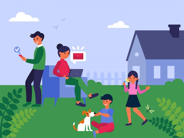 Family spending leisure time together in garden Free Vector