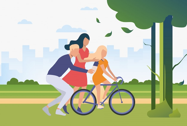 Family spending time together outdoors Free Vector
