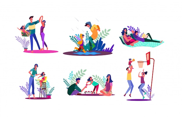 Family spending time together set Free Vector