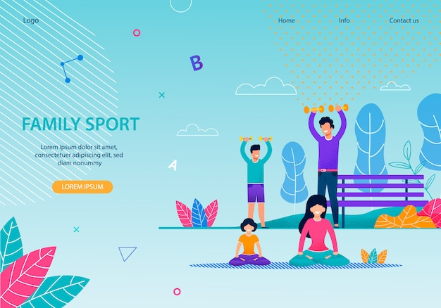 Family sport healthy team banner flat template Premium Vector