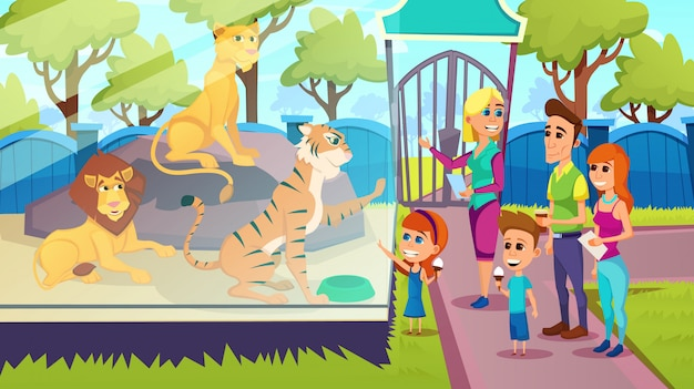 Family stand in front of glass barrier with lions at zoo Premium Vector