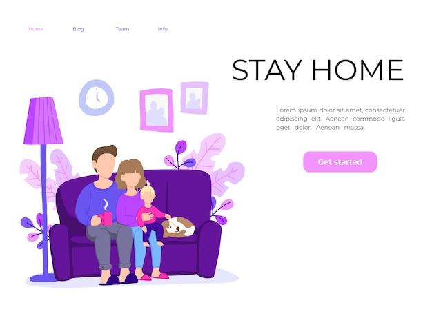 家族は家にいて、安全を守ってください。家で働く。 Premiumベクター