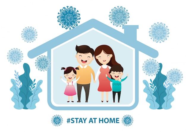 Семья остается дома в карантине, защита от вирусов. Premium векторы