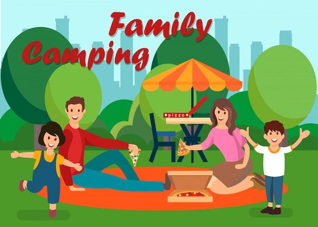 Family summer camping flat vector illustration Premium Vector