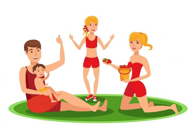 Family summer outdoor activities Premium Vector