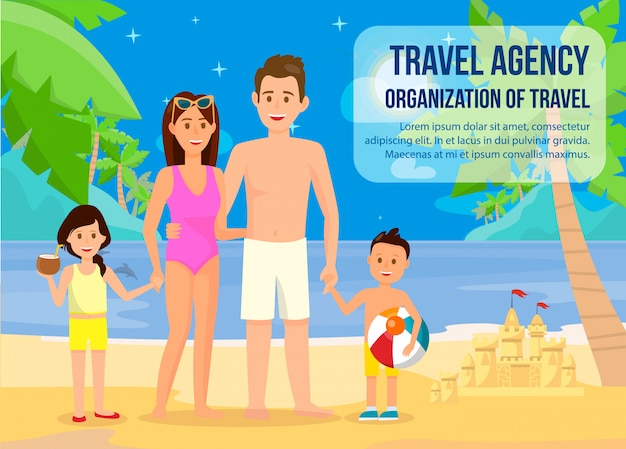 Family on summer vacation banner with lettering. Premium Vector