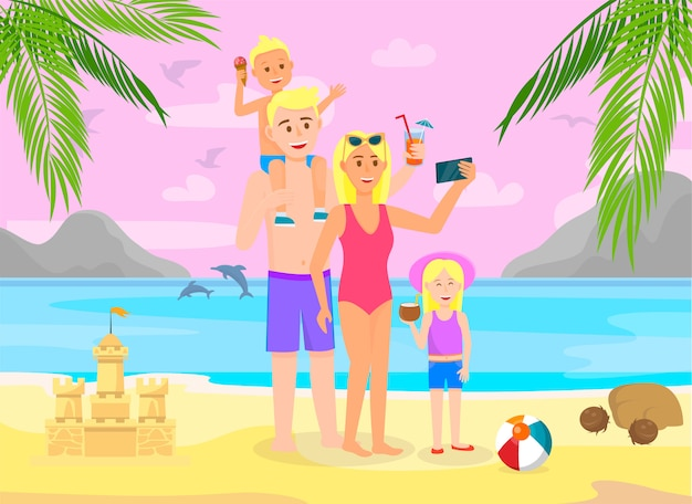 Family on summer vacation going to beach with palm Premium Vector