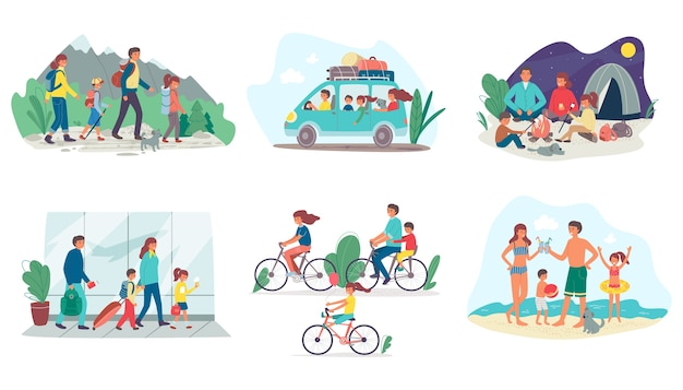 Family on summer vacation travelling Premium Vector