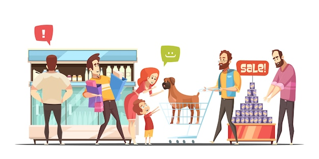 Family in supermarket banner Free Vector