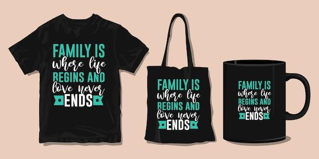 가족 티셔츠 타이포그래피 따옴표. 인쇄용 상품 프리미엄 벡터