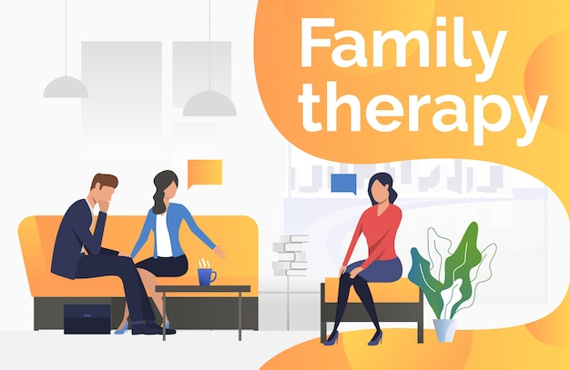 Family therapy text with psychologist talking to couple Free Vector