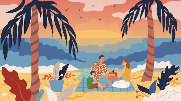 가족 시간 개념. 사람들은 해안에서 피크닉을합니다. 아버지 어머니와 아들은 바다 옆에 두 개의 야자수 사이 해변에서 재미 있고, 먹고, 일몰을 즐기십시오. 프리미엄 벡터