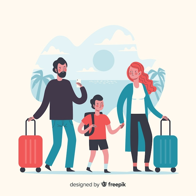 Family time travelling on vacation Free Vector