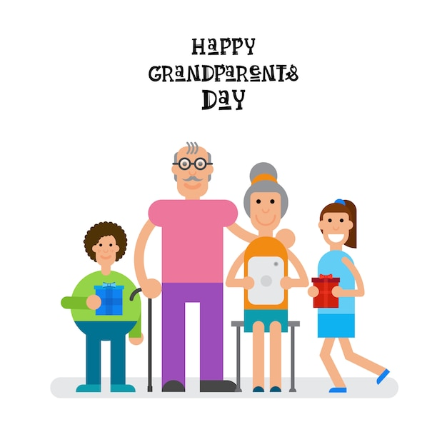 Family together happy grandparents day greeting card banner Premium Vector