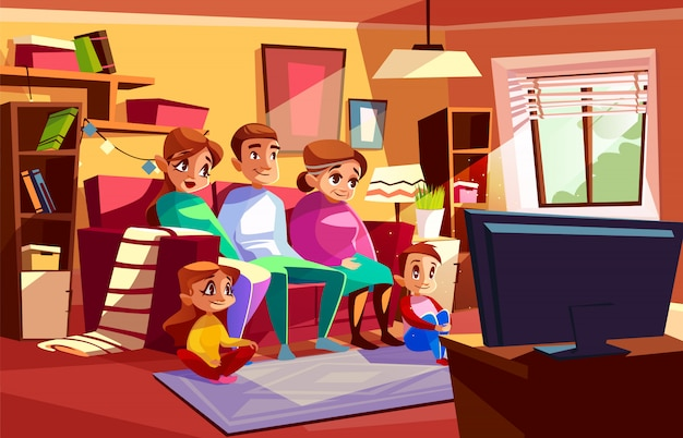 Family together watching tv illustration of parents and children sitting on sofa Free Vector