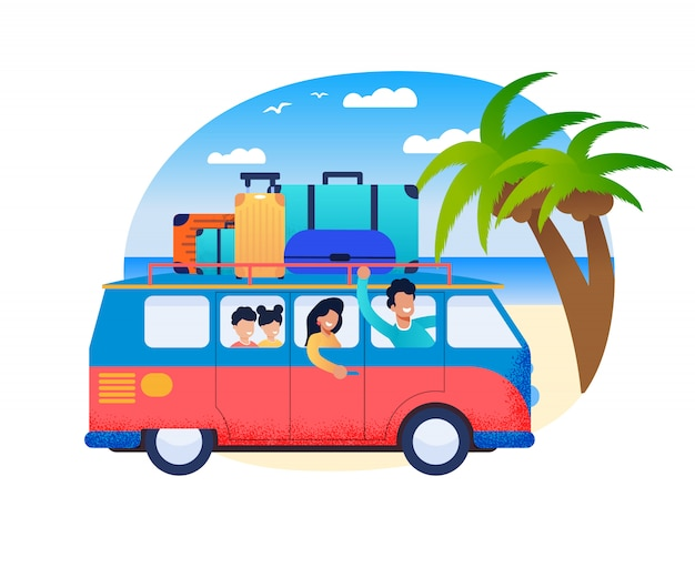 Family travel father drive minivan with mother children at sea shore Premium Vector