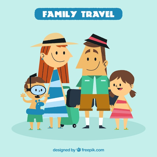 Family travel in vintage style Vector | Free Download