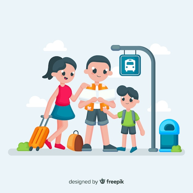 Family traveling background Free Vector