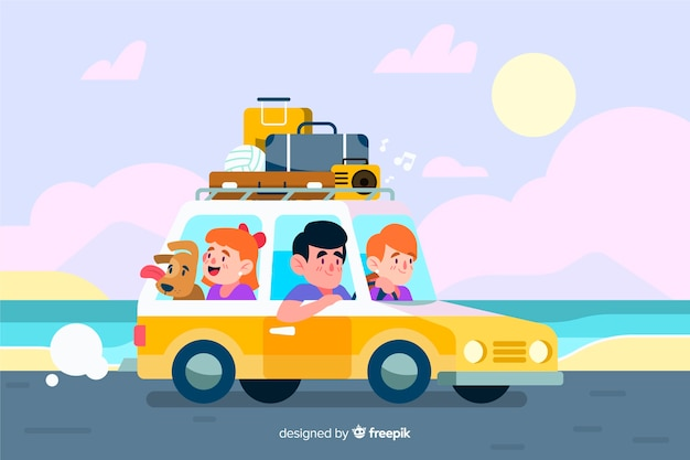 Family traveling by car next to the sea Free Vector