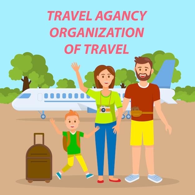 Family traveling by plane social media banner. Premium Vector