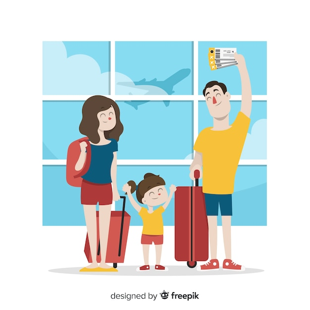 Family traveling Free Vector
