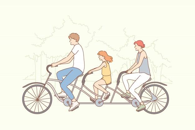 Семья, путешествия, езда на велосипеде, спорт, концепция деятельности Premium векторы