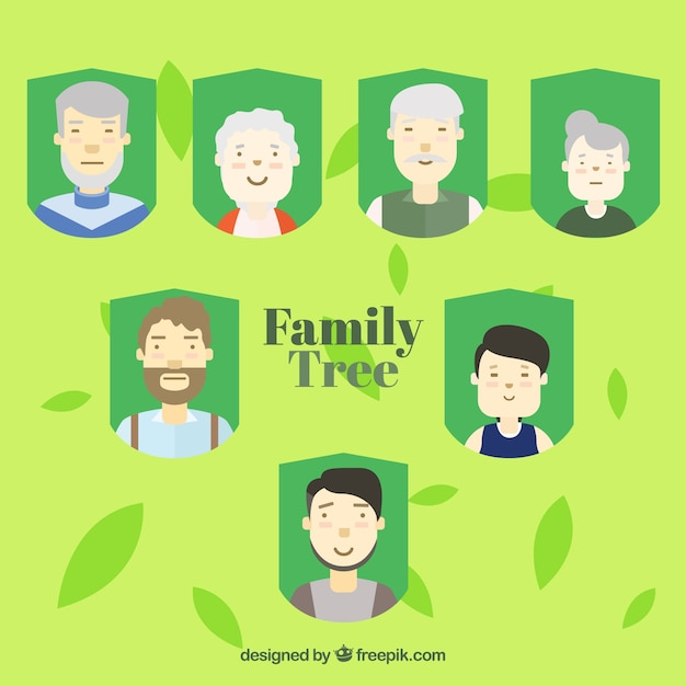 Family tree background with friendly family\ members