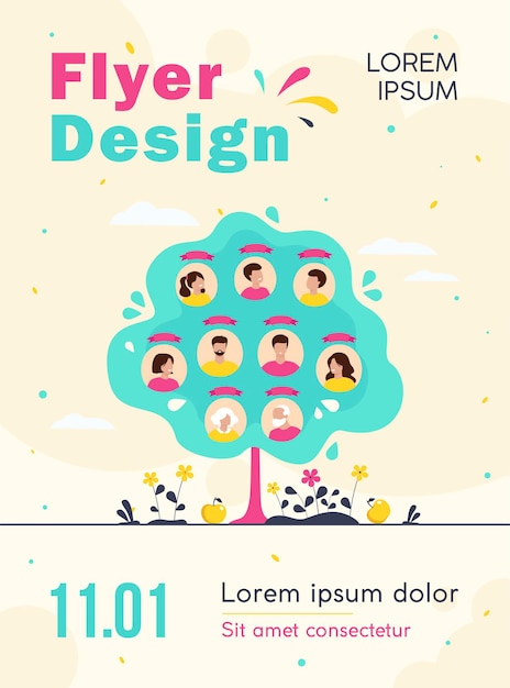 Family tree concept flyer template Free Vector