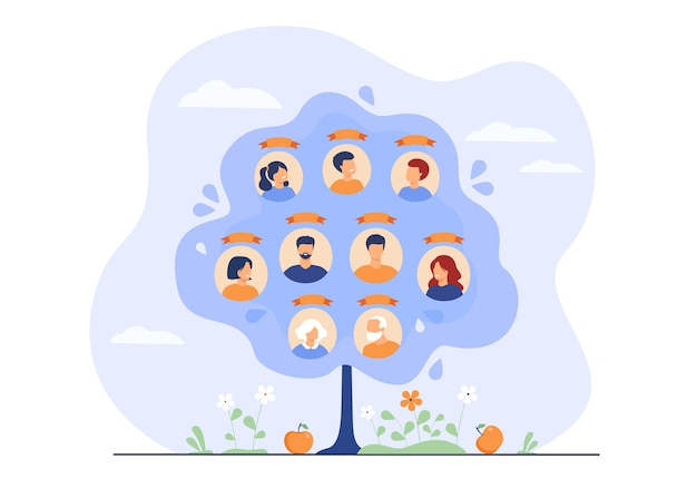 Family tree concept. scheme of ancestry with three generations, relatives connection data. Free Vector