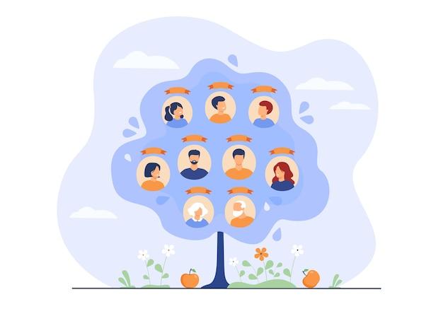패밀리 트리 개념. 3 세대, 친척 연결 데이터가있는 조상의 계획. 무료 벡터