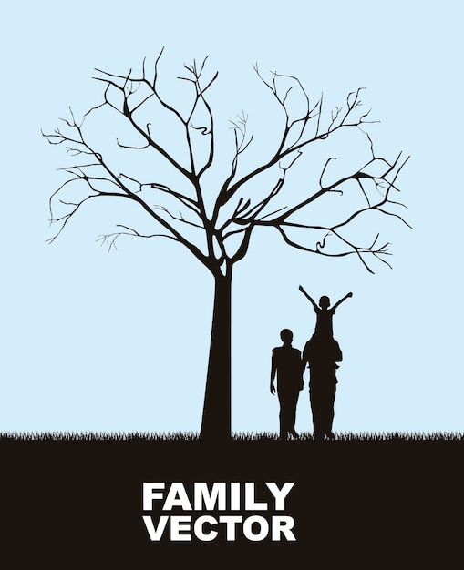 Family under tree over sky background vector illustration Premium Vector