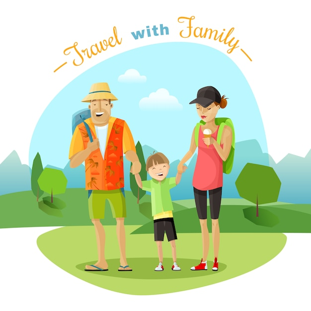 Family trip illustration Free Vector
