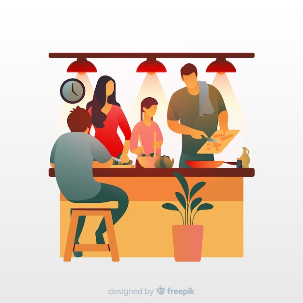 Family unit at the kitchen Free Vector