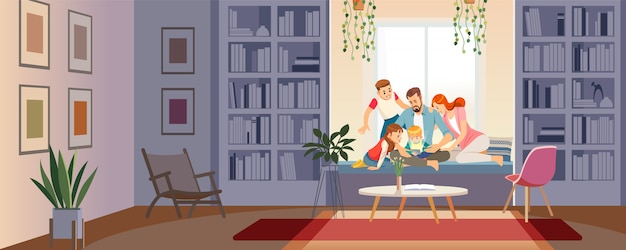 Family using tablet, mobile smartphone to perform online shopping. Premium Vector