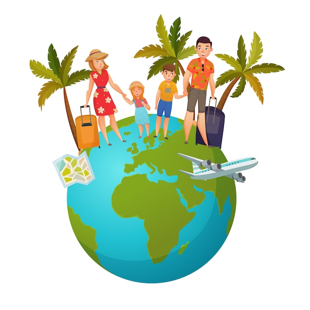 Family vacation composition Free Vector