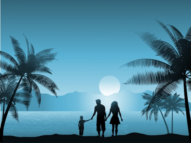 Family walking on the beach at night Free Vector