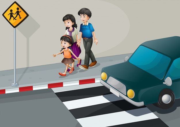A family walking at the street Free Vector