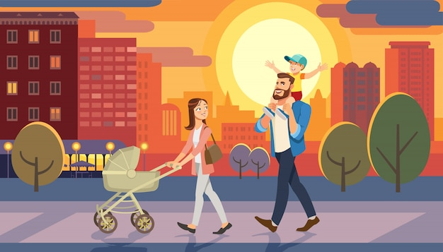 Family walking with baby car at city sunset. father holding son on his shoulders. Premium Vector