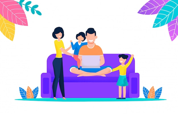 Family watching movie on laptop sitting on couch Premium Vector