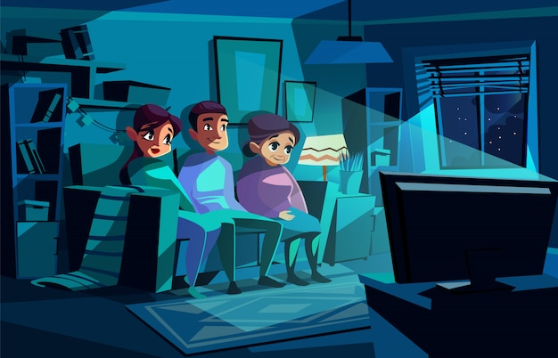 Family watching night tv illustration of couple man and woman sitting on sofa Free Vector