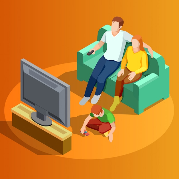 Family watching tv home isometric image Free Vector
