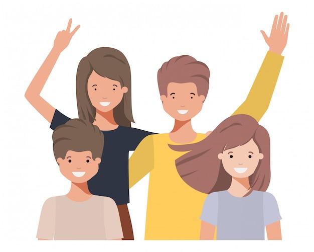 Family waving avatar character Premium Vector