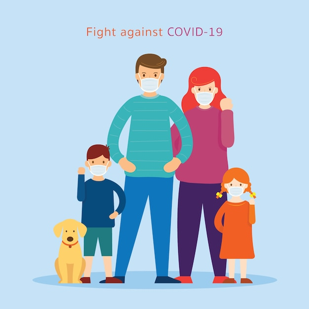 Family wearing face mask fight against ,  coronavirus disease, Premium Vector
