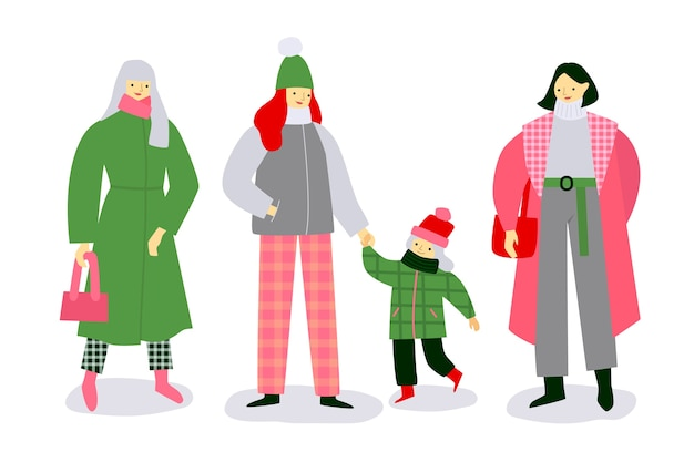 Family wearing winter clothes Free Vector